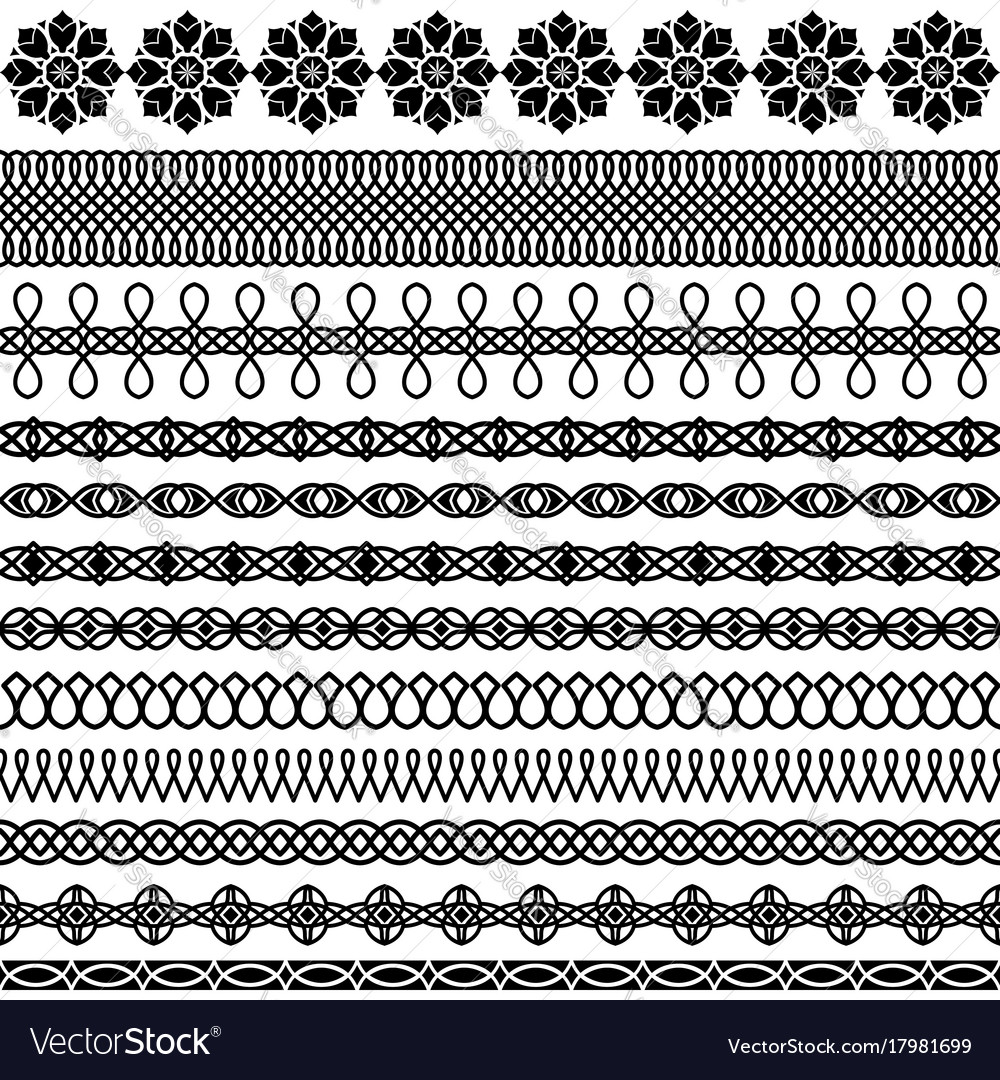 Set of brush in the oriental style vector image
