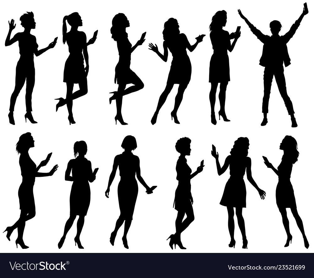 Set of female silhouettes