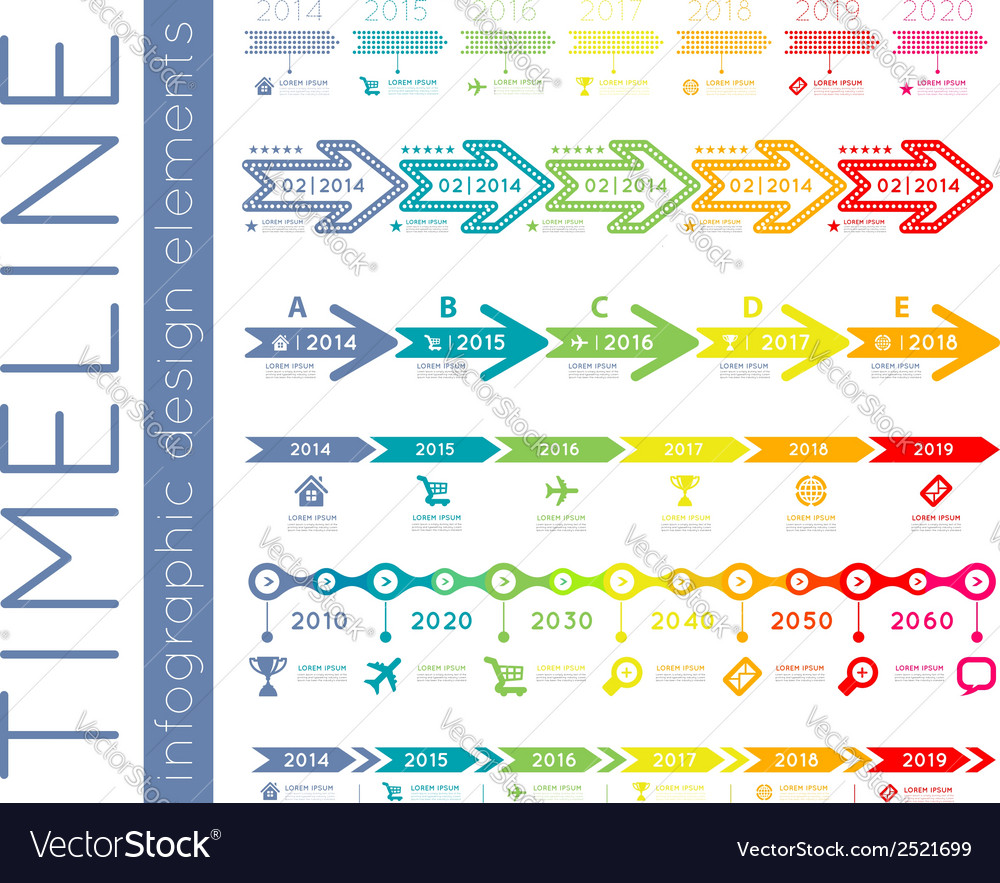 Timeline infographic set vector image