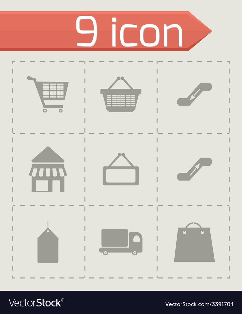 Black shop icons set