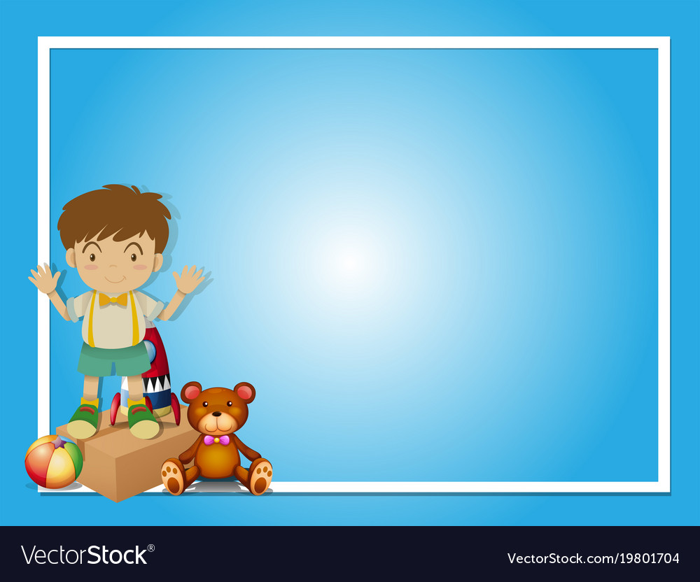 border template with boy and teddybear royalty free vector