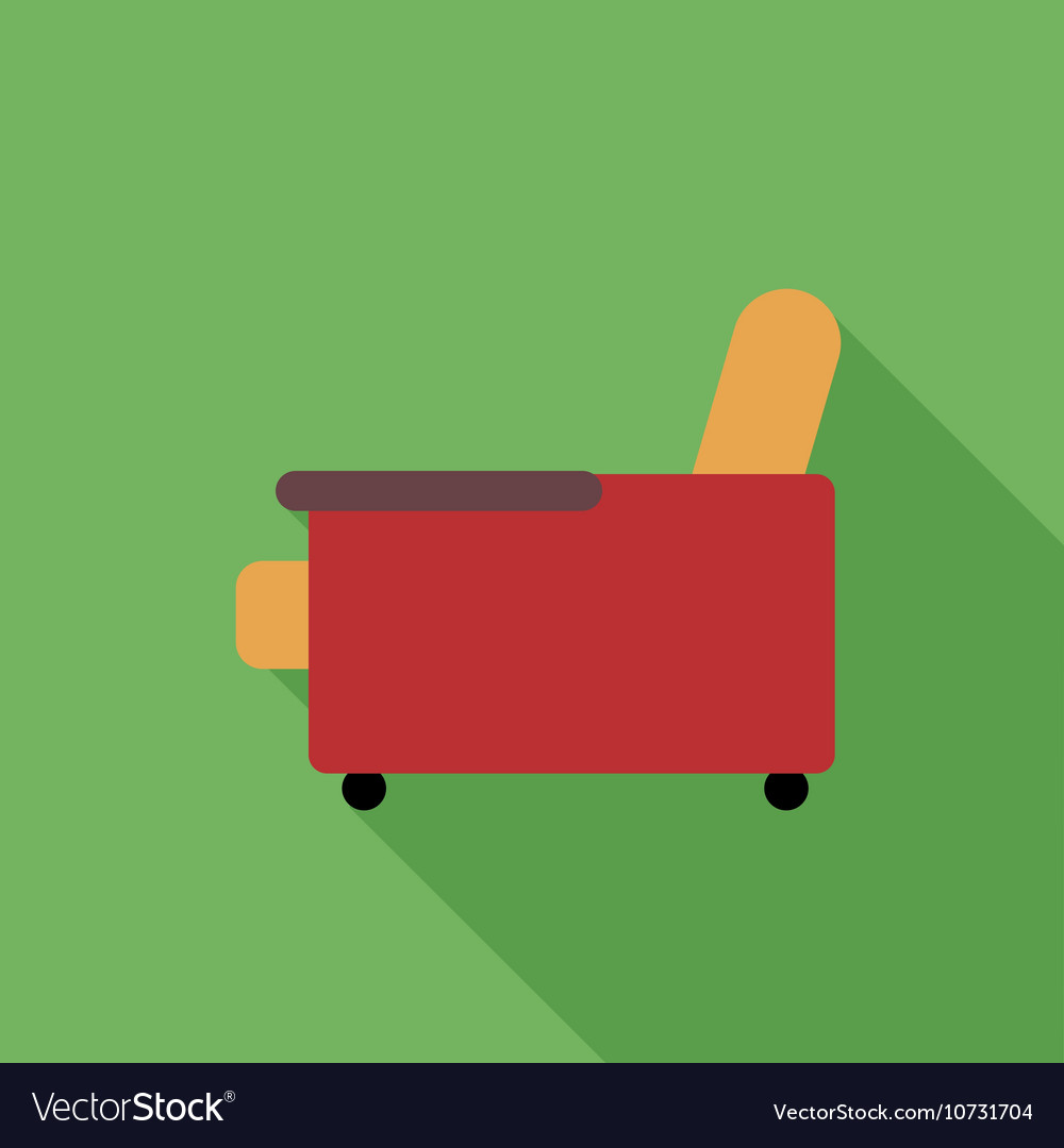 Digital orange and red armchair icon vector image