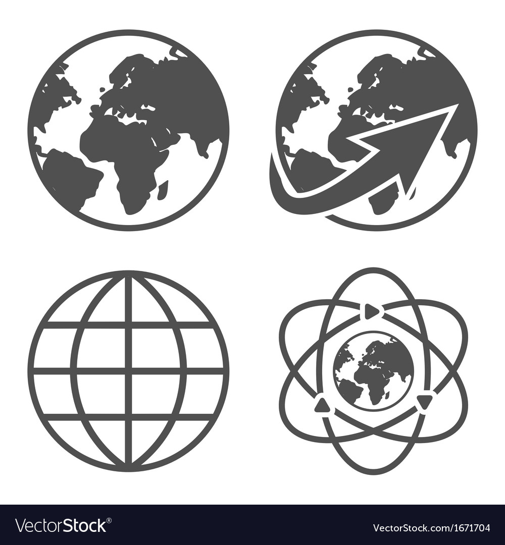 globe earth icons set royalty free vector image rh vectorstock com vector globe free vector globe free