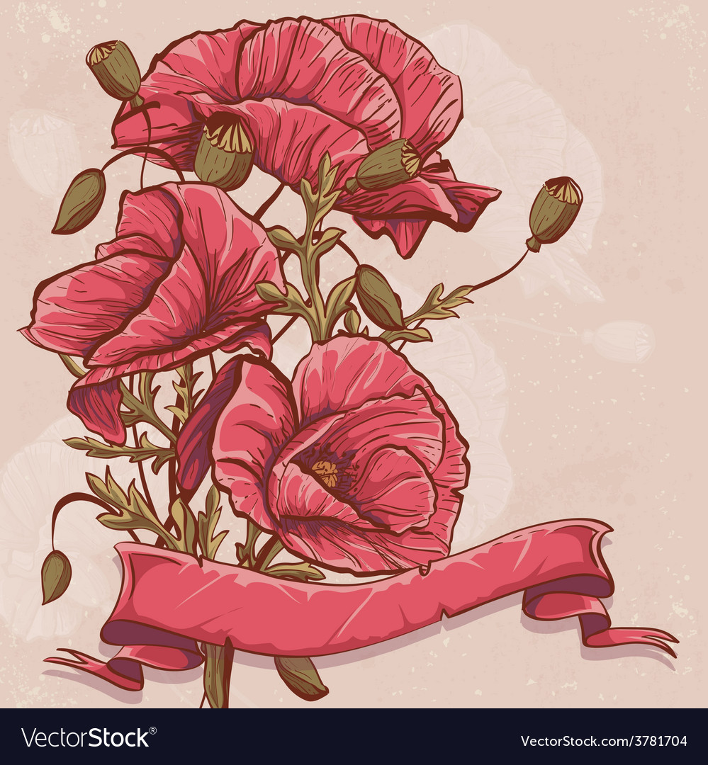 Greeting card with red poppies and ribbons