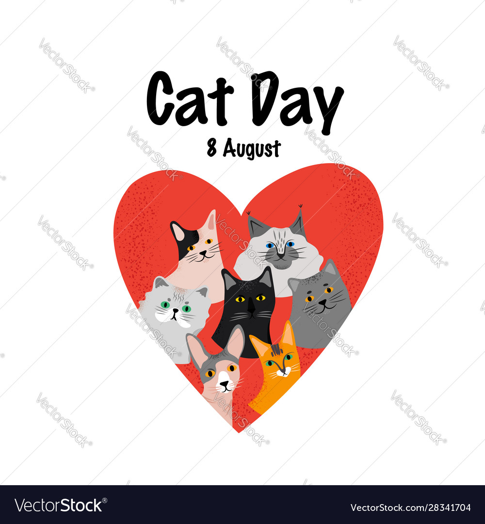 Greeting card with text cat day 8 august