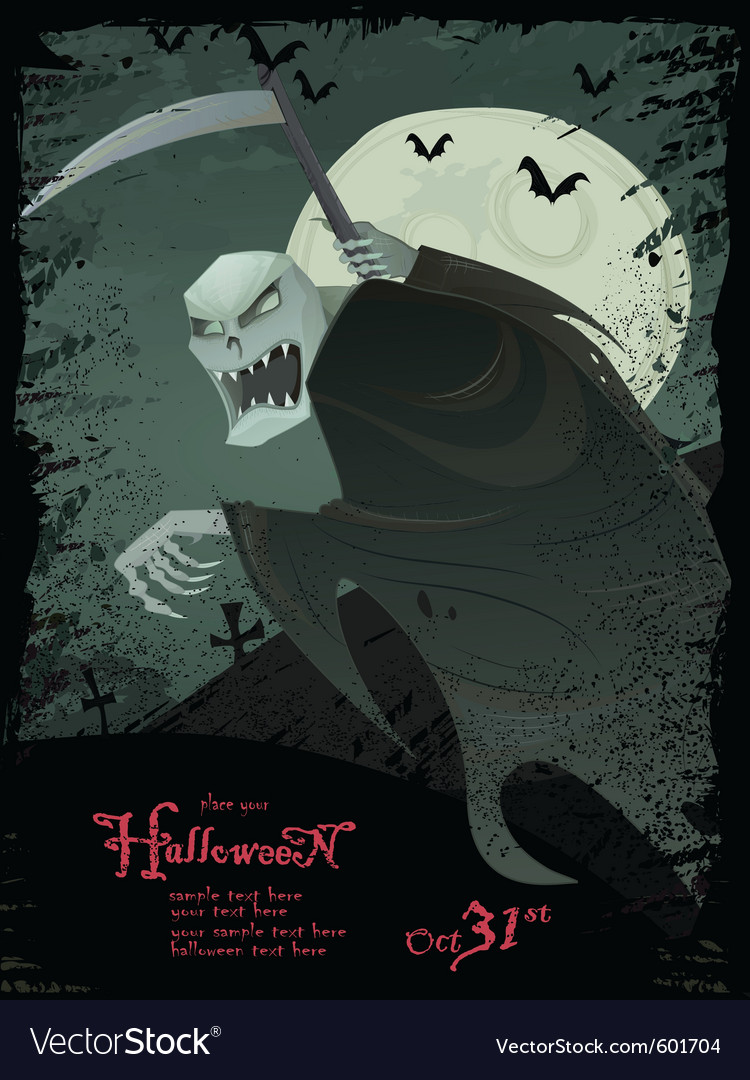 halloween grim reaper template royalty free vector image