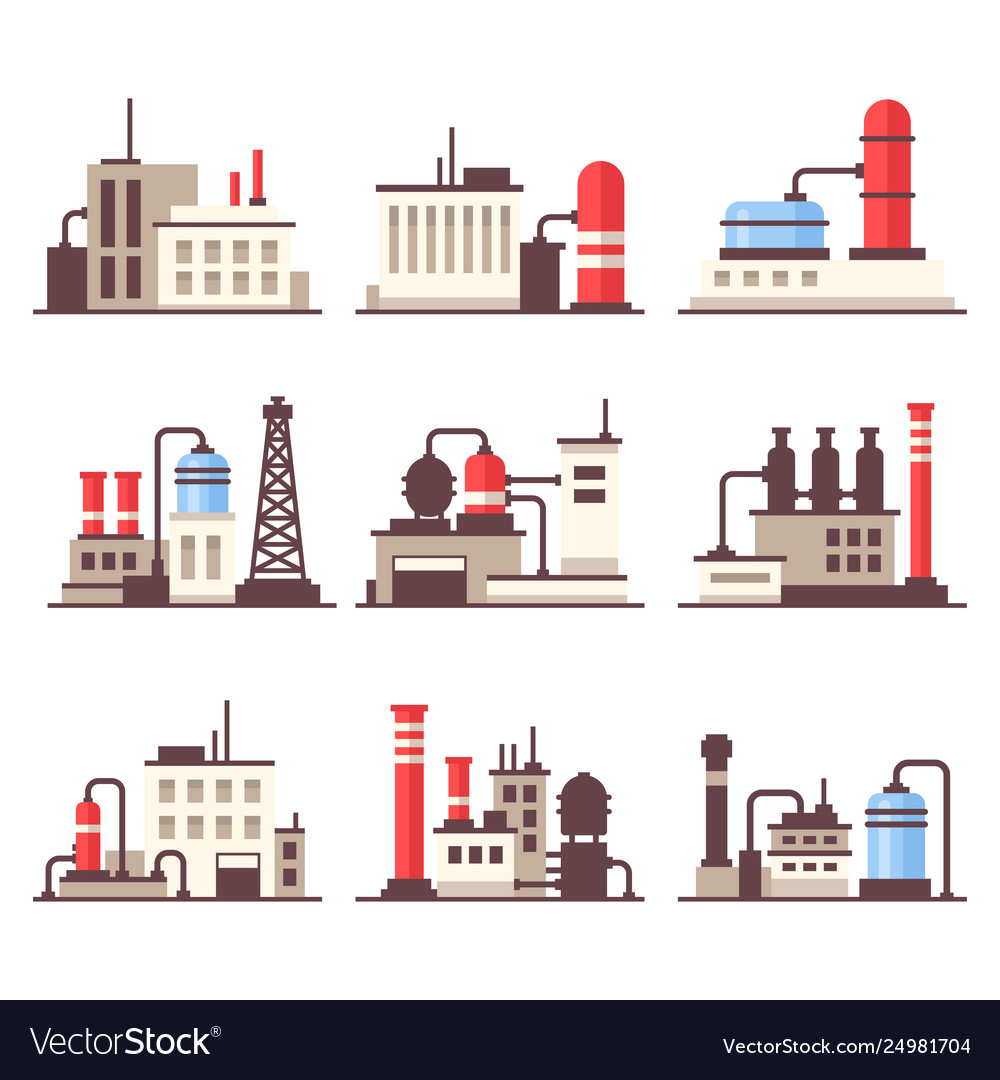 Industrial manufactory building icons set flat