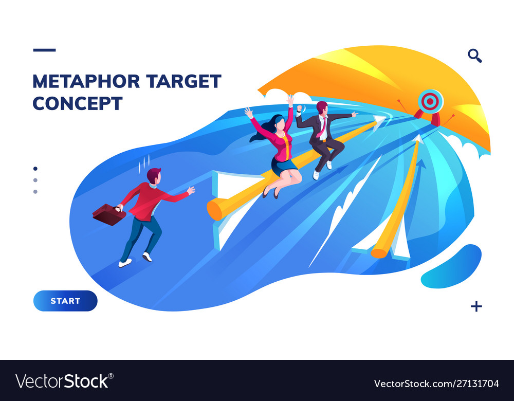 Isometric page with target or goal concept