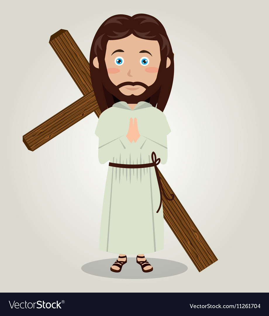 Jesus christ carrying cross in back design vector image