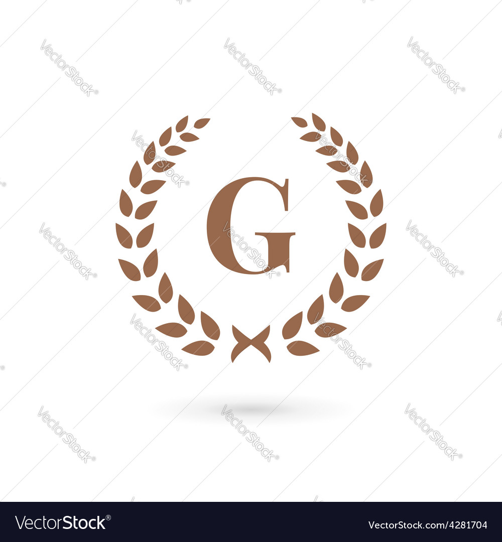 a7b5f5cb Letter G laurel wreath logo icon design template Vector Image