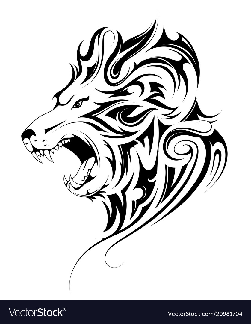 Lion Head Tribal Tattoo Royalty Free Vector Image
