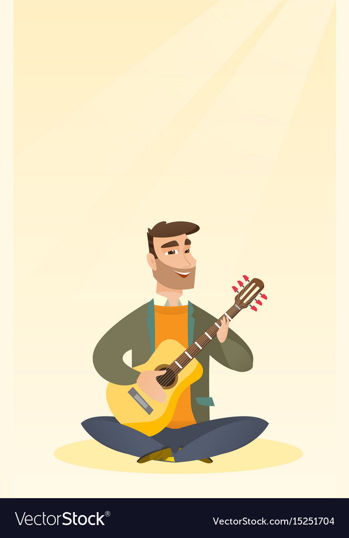 Man Playing The Acoustic Guitar Royalty Free Vector Image