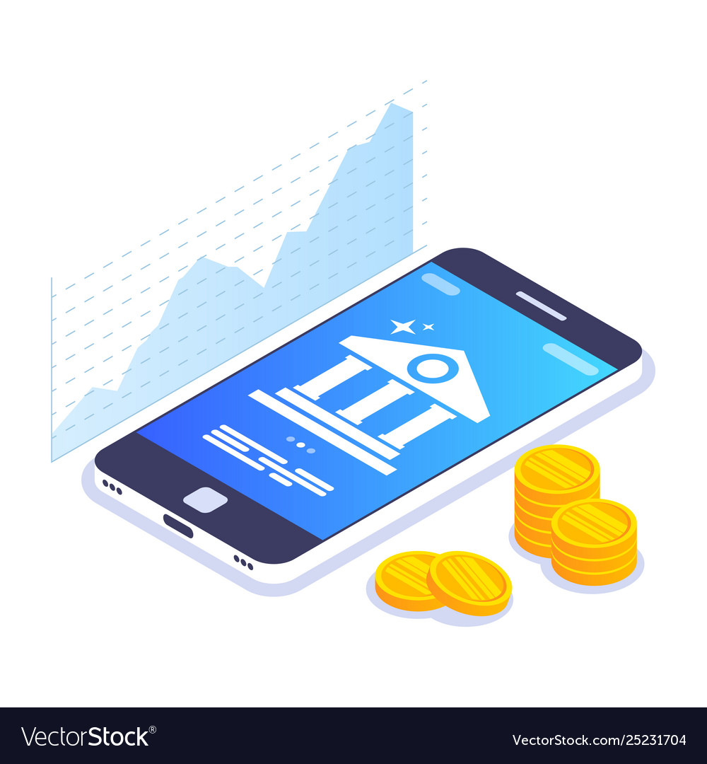 Mobile banking isometric concept currency rate