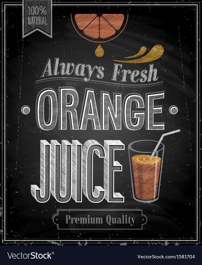 Orange juice chalk vector image