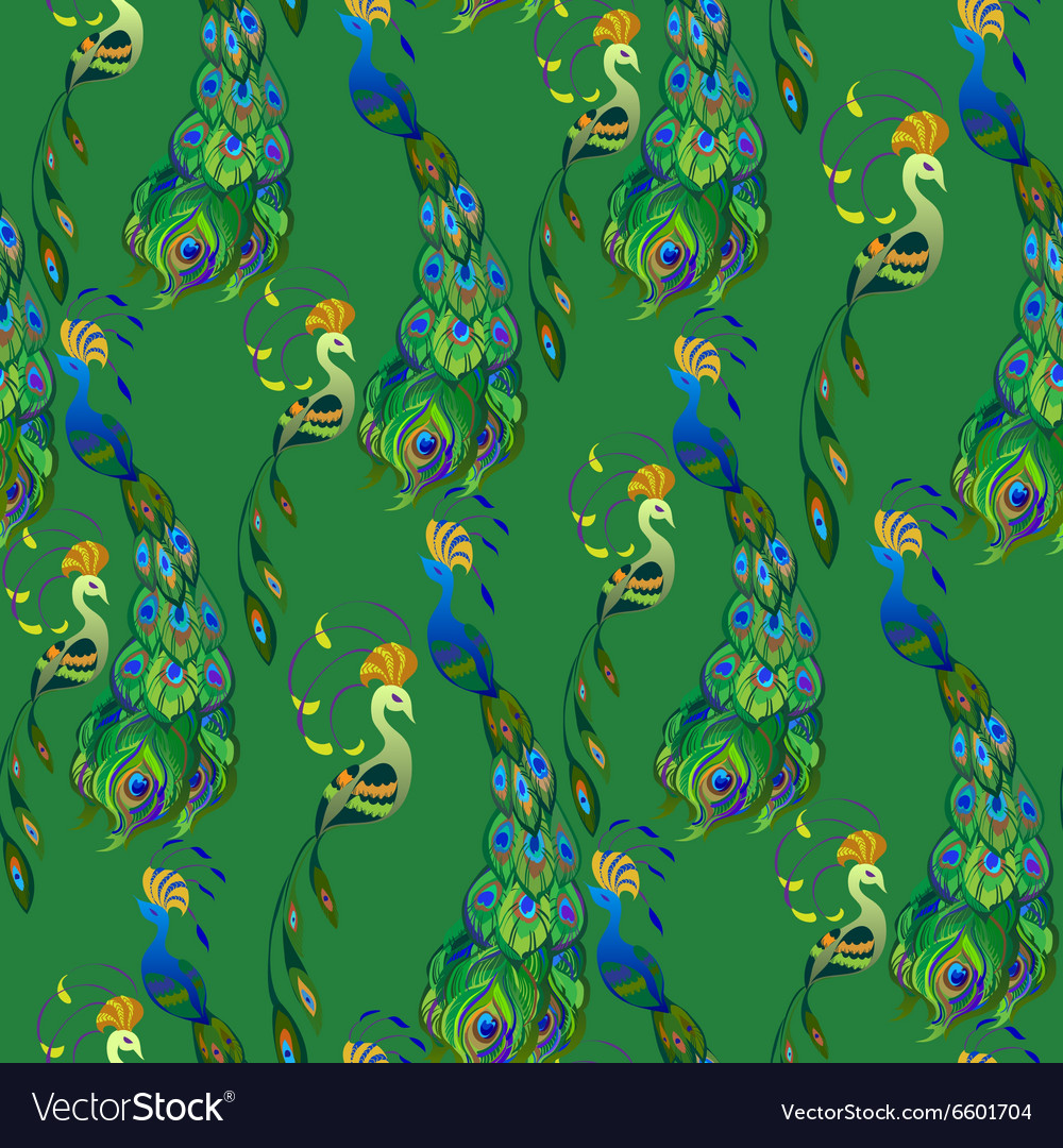 Peacock birds Beautiful green seamless pattern