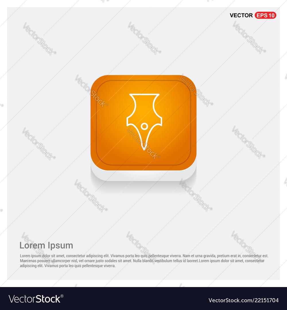 Pen nib icon orange abstract web button