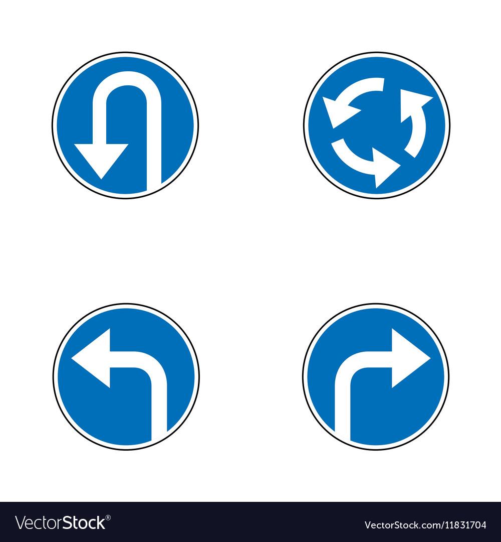 Set of variants a U-Turn forbidden - road sign