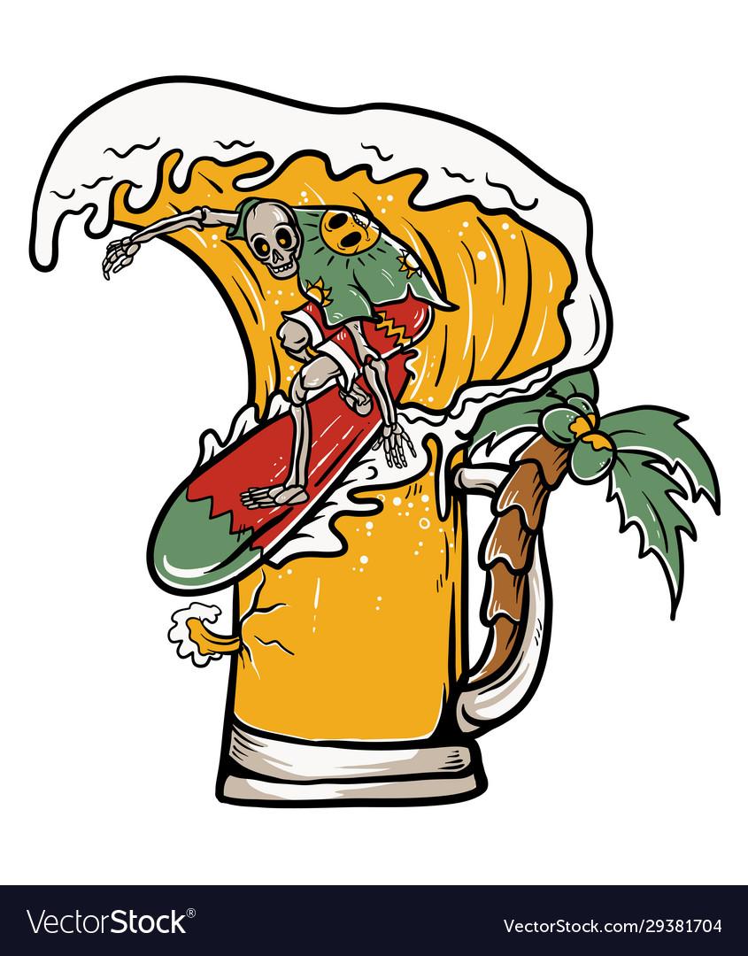 Skull surfing on beer wave
