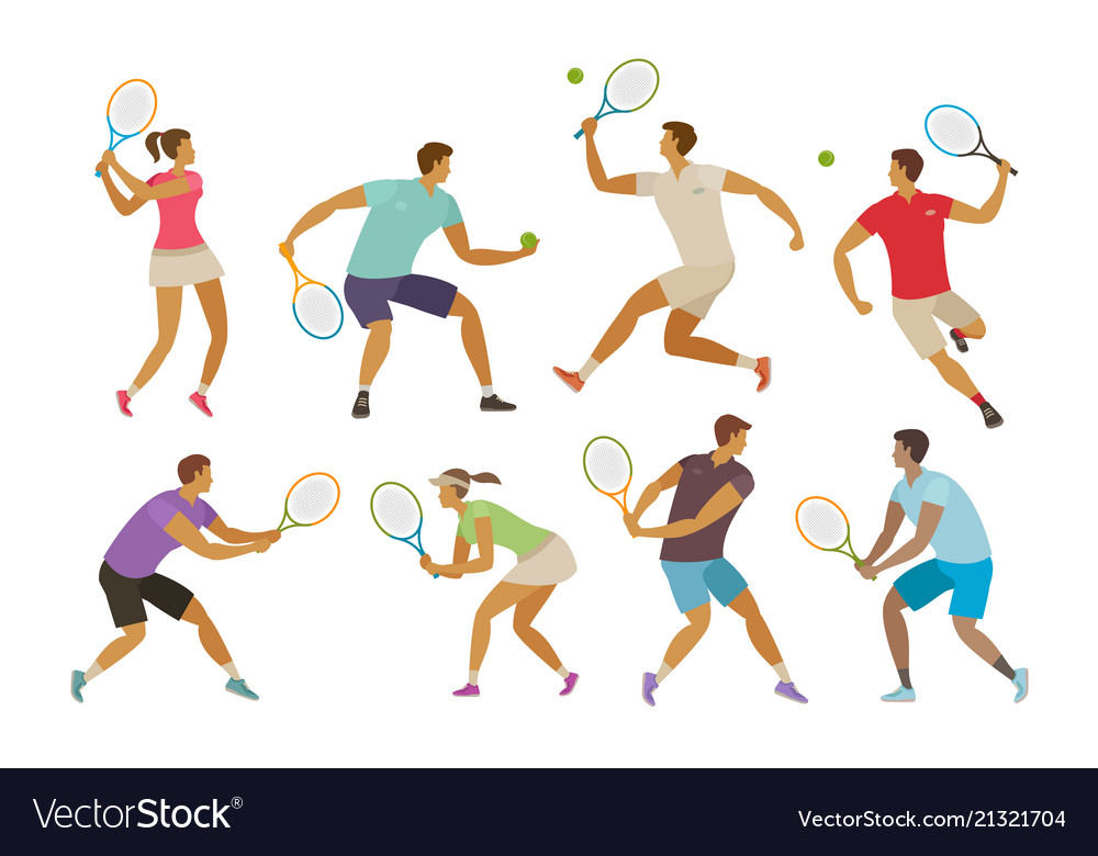 Tennis player with tennis racket sport concept