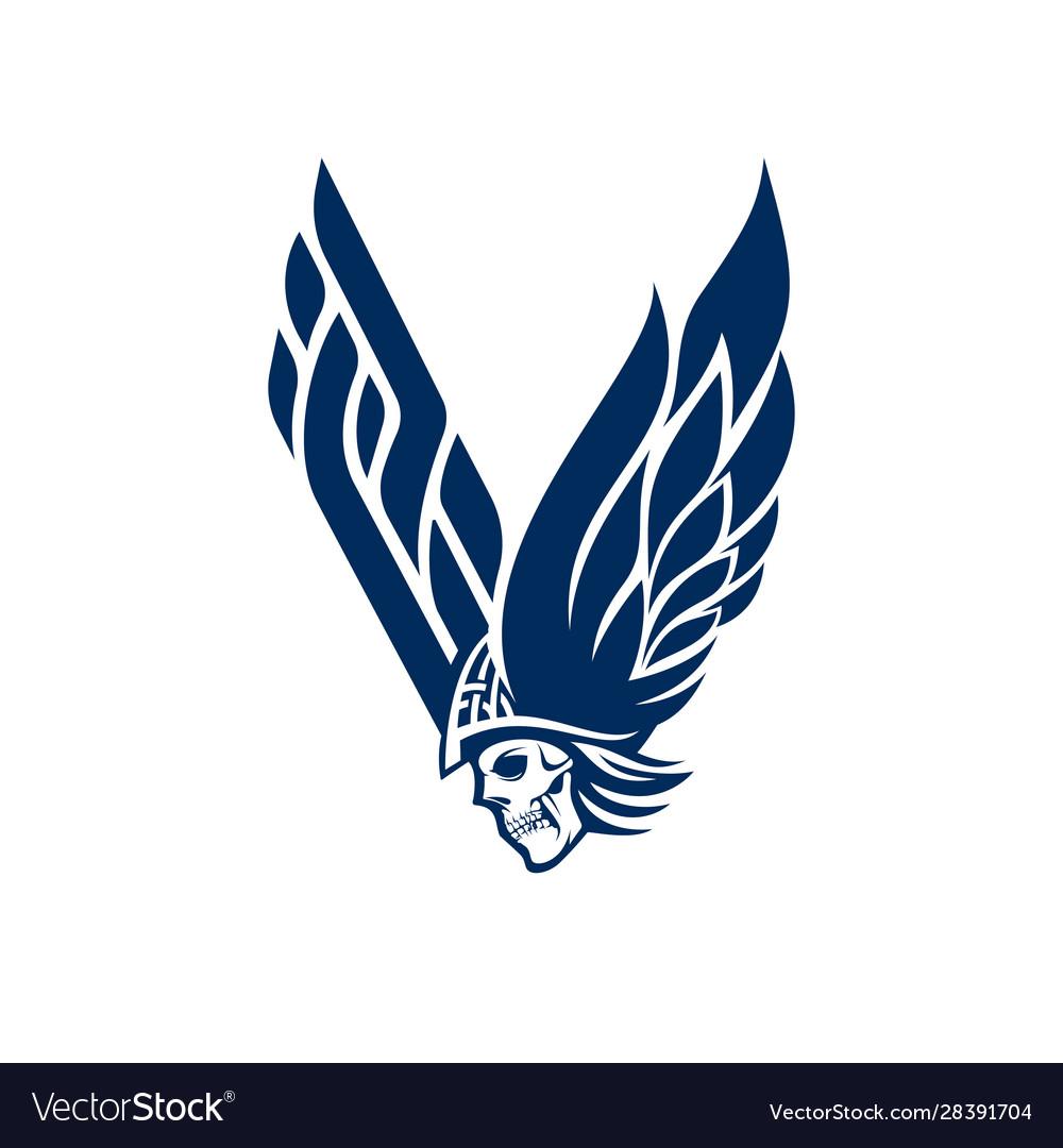 V for viking logo letter and skull logo