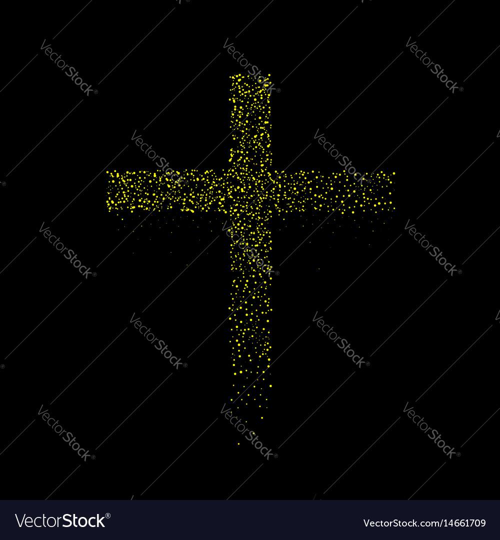 Abstract golden cross vector image