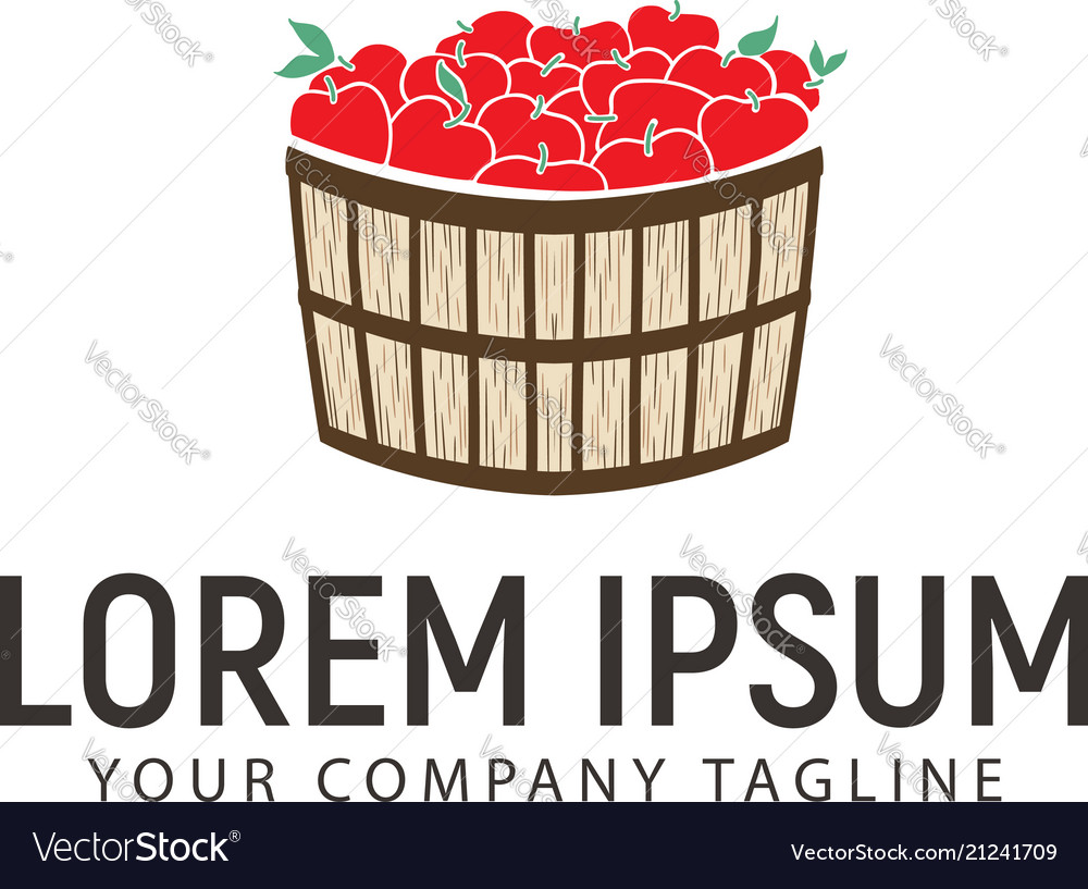 Apple basket logo design concept template