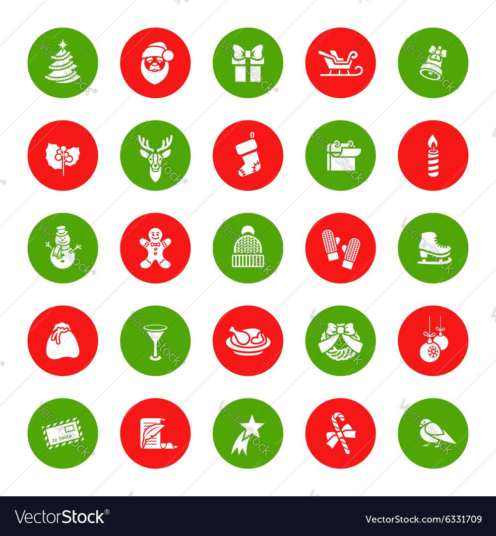 Christmas Symbols Flat Round Icons Set Royalty Free Vector