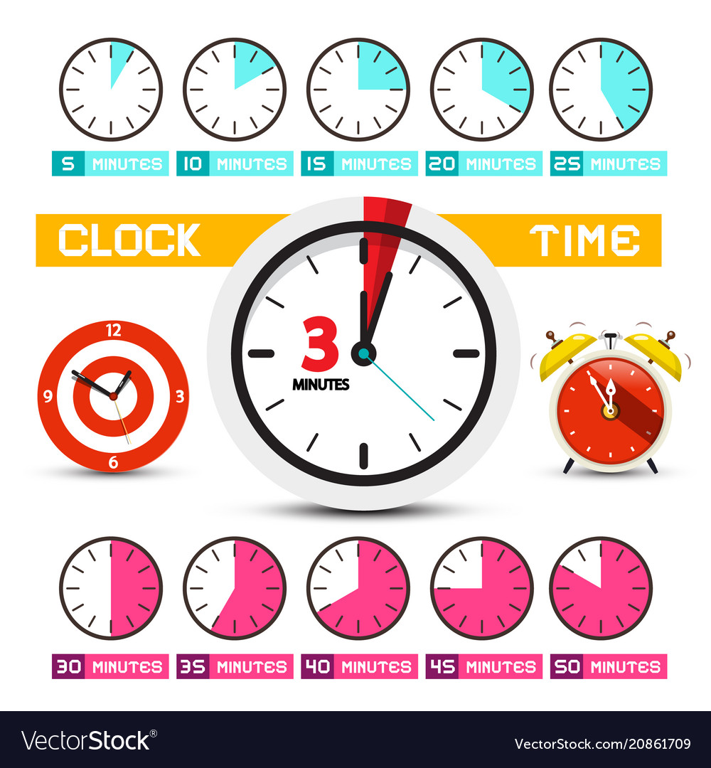 Clocks time icons five to fifty minutes clock vector image