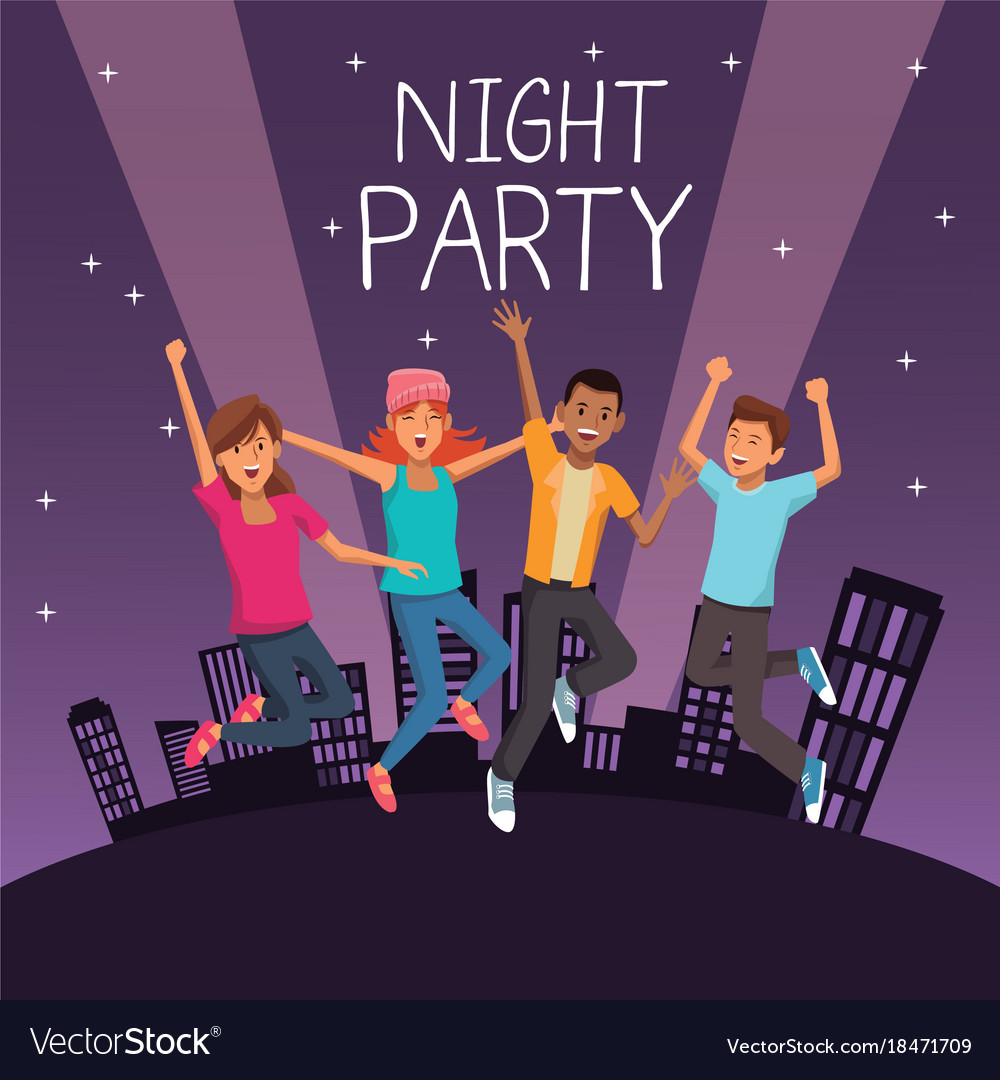 Friends at night party