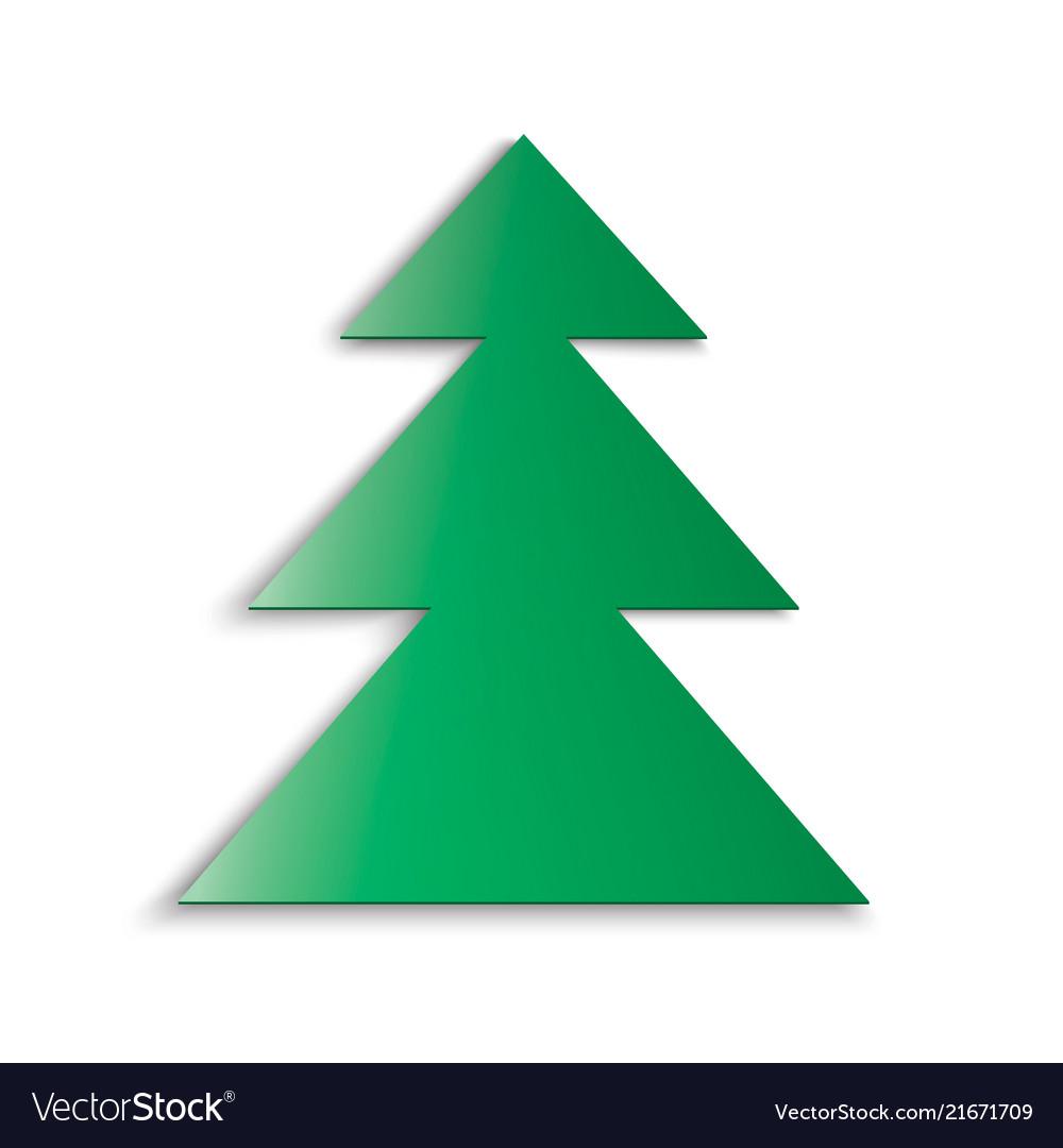 Green christmas tree soft shadow on white