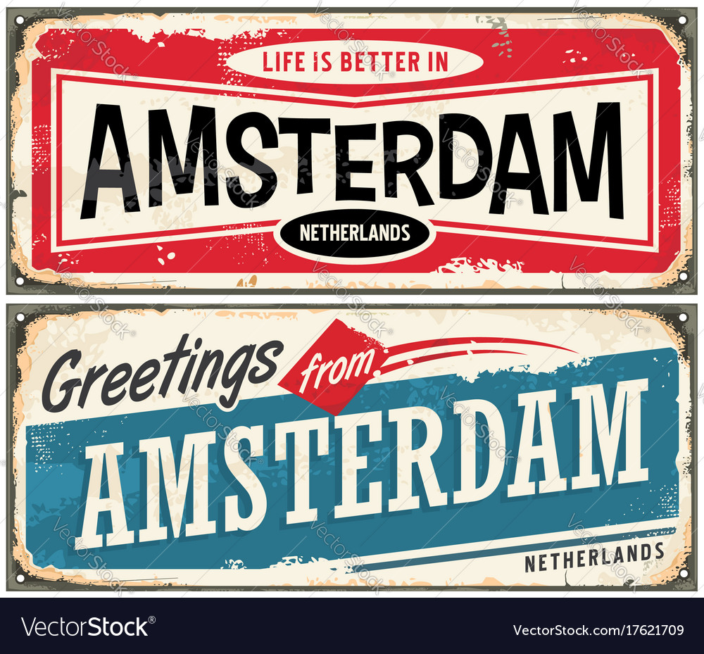 Greetings from amsterdam vector image