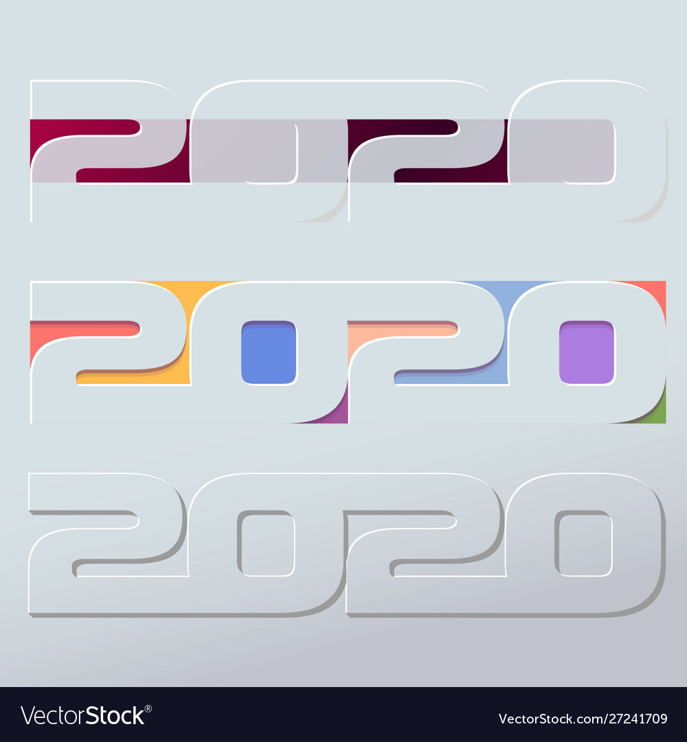 Happy 2020 new year colour banner in paper style