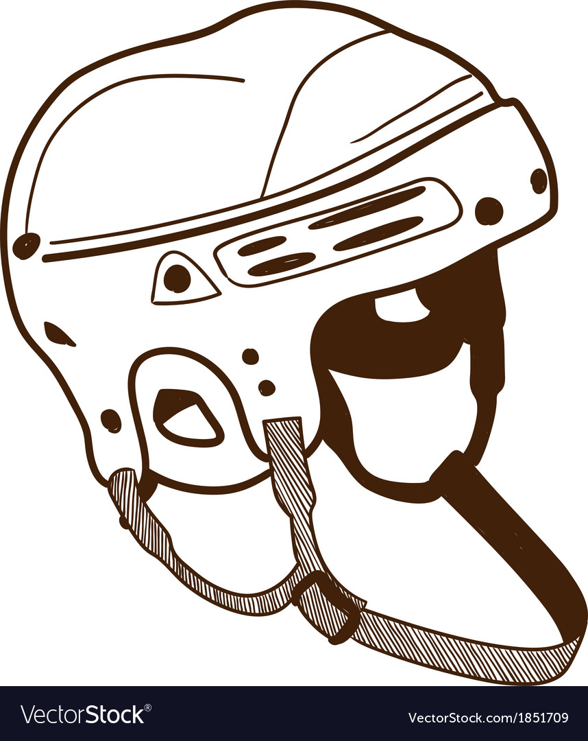 Hockey helmet isolated on white vector image