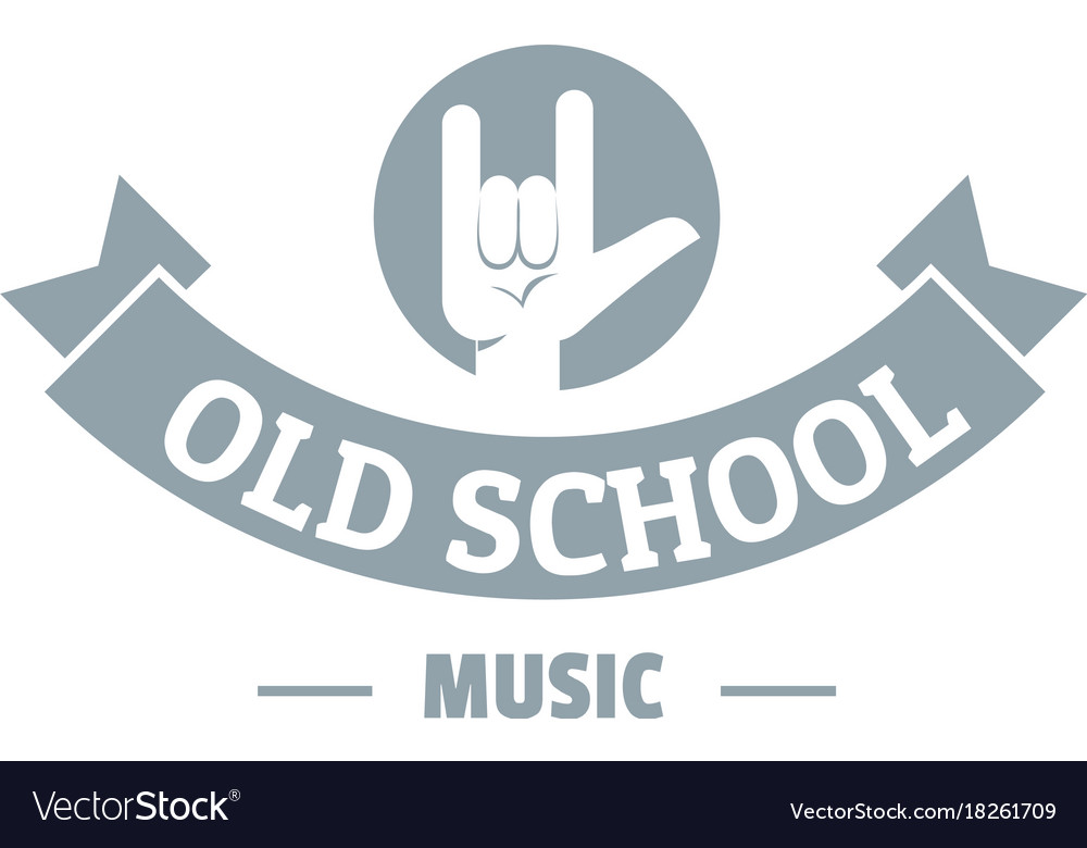 Old school music logo simple gray style