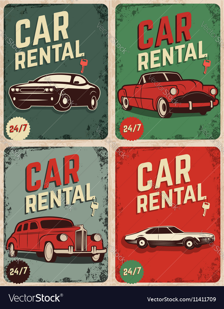 Set of car rental old style flyers