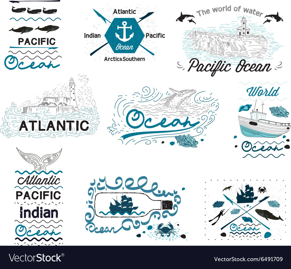 Set of Vintage Nautical Labels Logos and elements