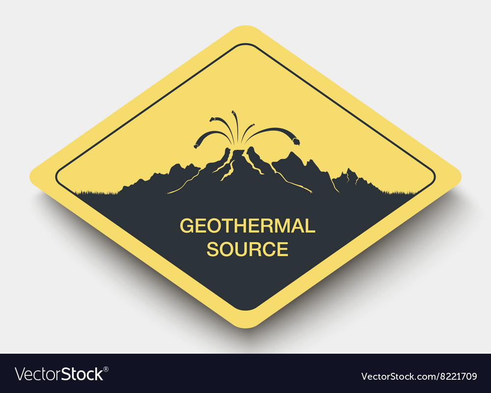 Sign geothermal source and energy vector image