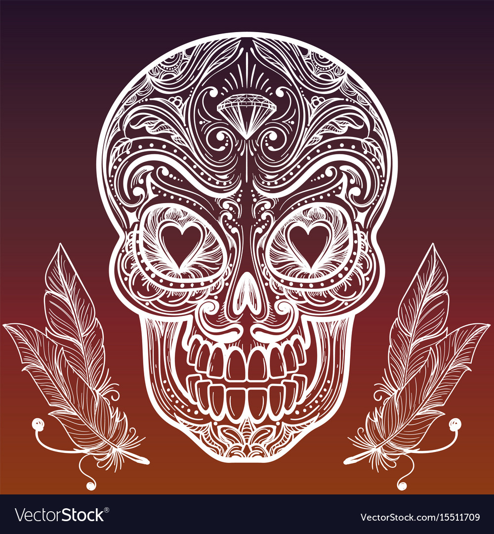 Sketched mexican skull and feathers