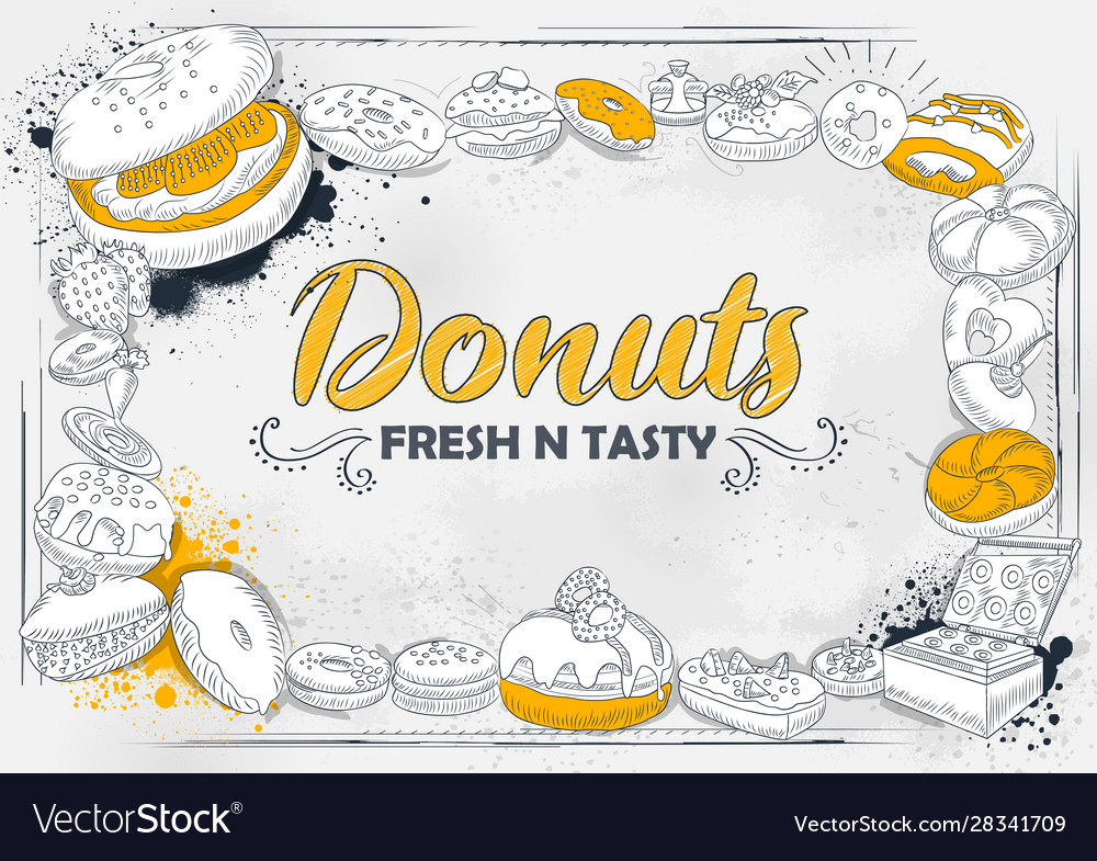 Template different types donut for menu