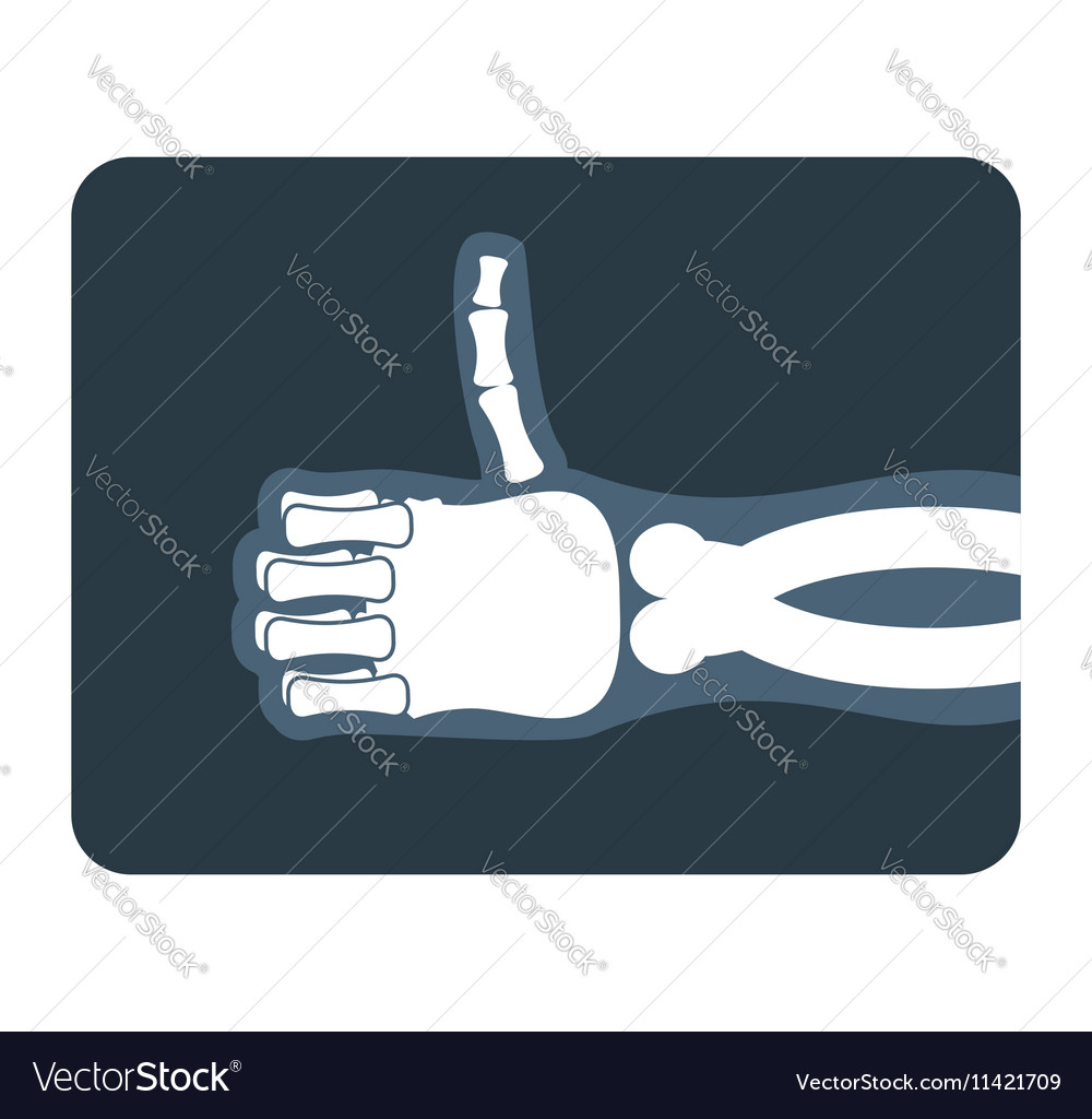 Thumbs up x-ray Bones of hand shows all good vector image