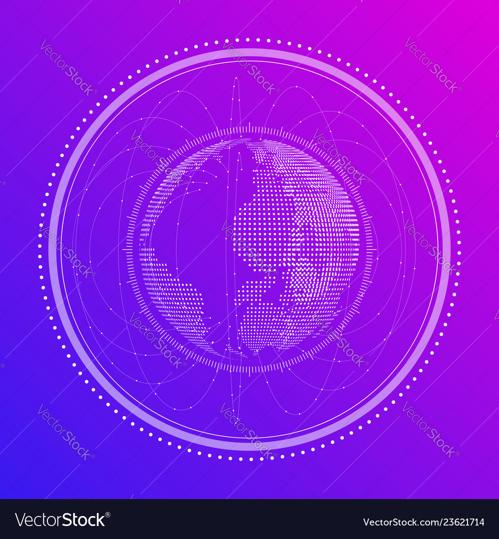 Abstract digital of the globe in neon
