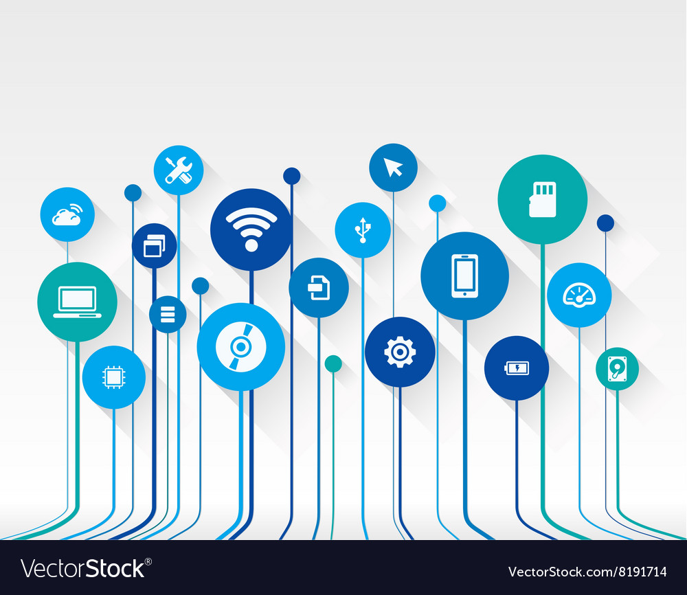 Abstract technology background with lines circles
