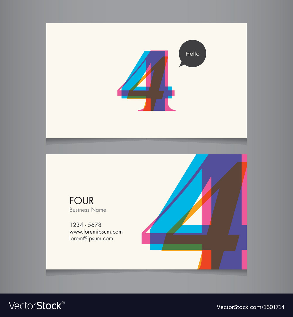 Business card with number 4
