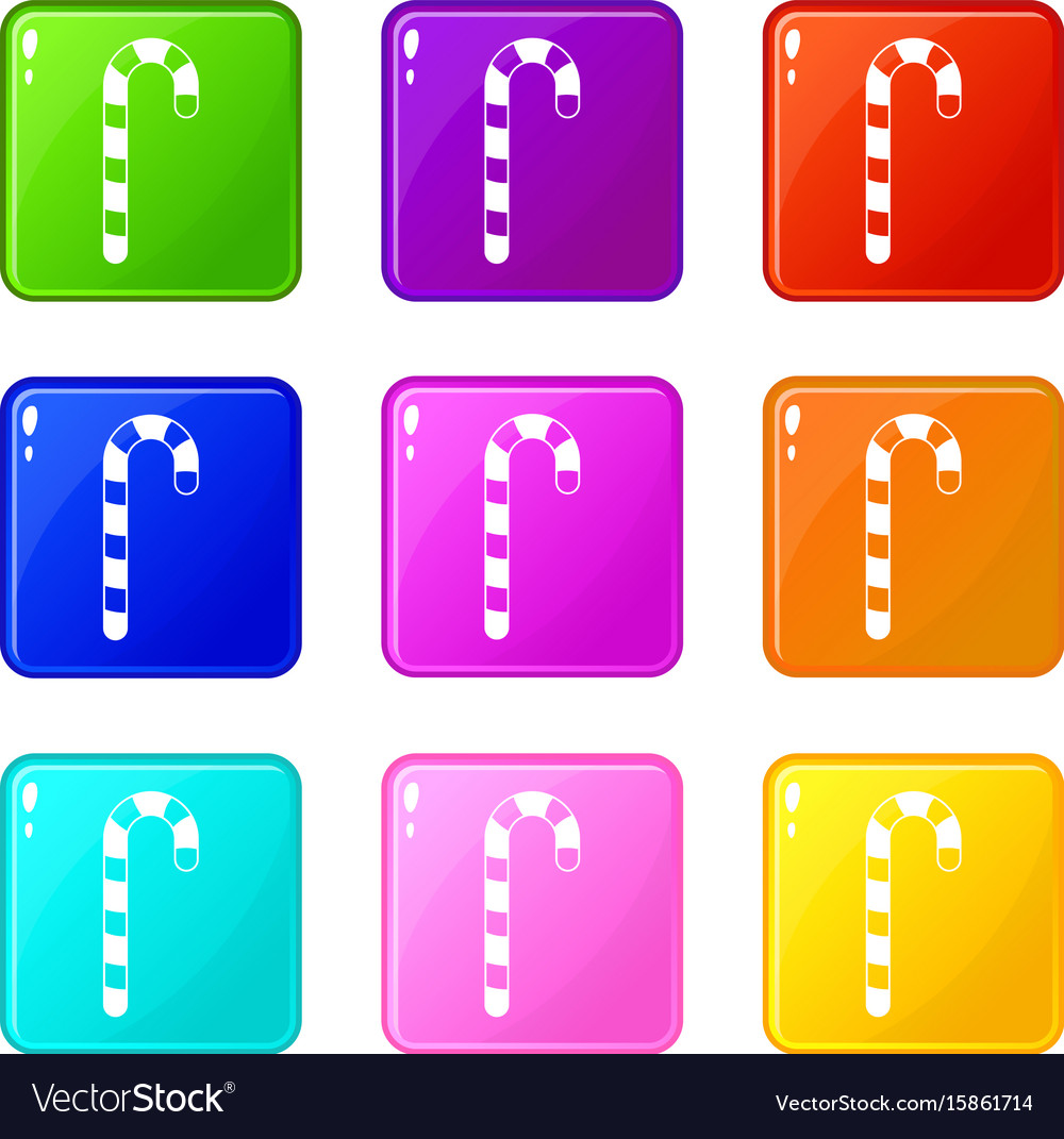 Candy cane icons 9 set vector image