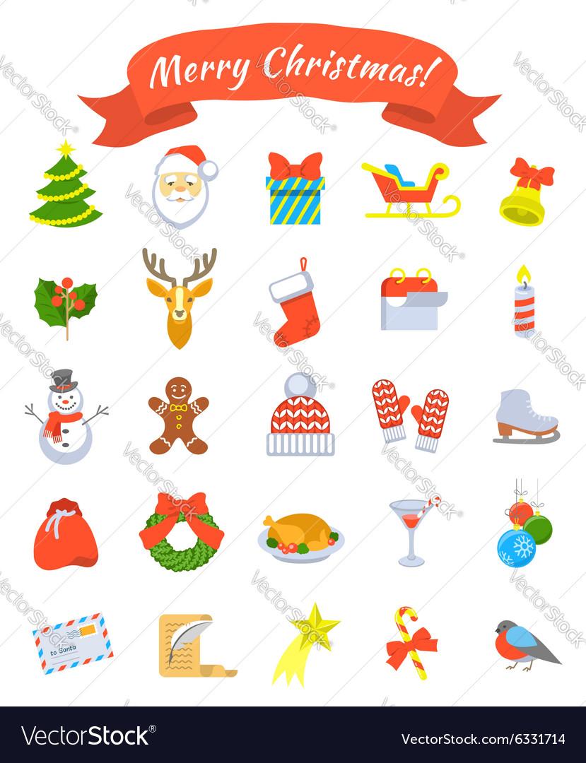 Christmas symbols flat icons set