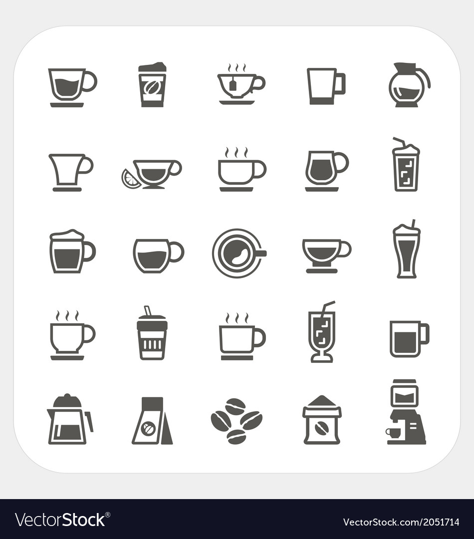 Coffee and Tea cup icons set
