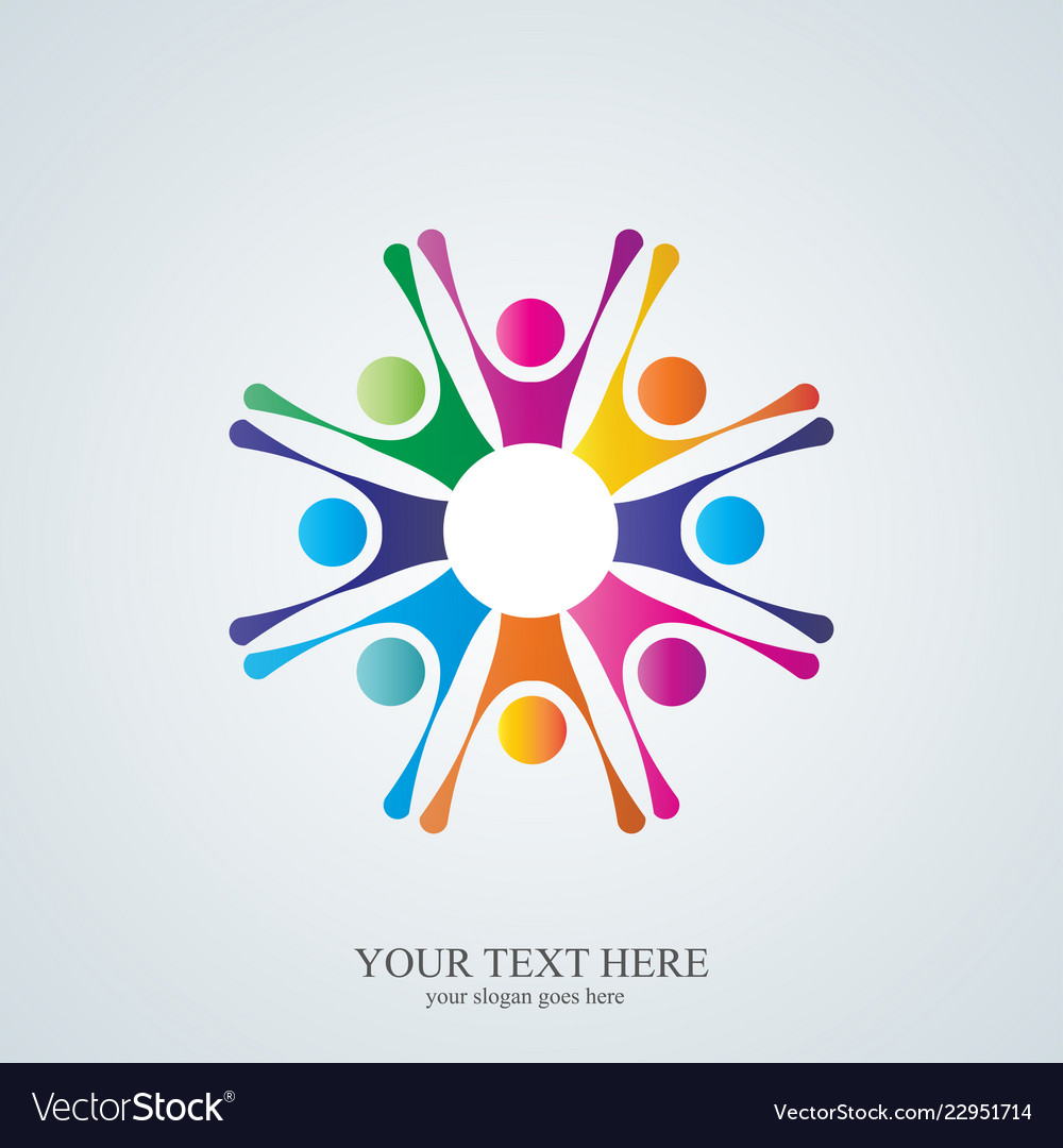 Colorful abstract people company logo