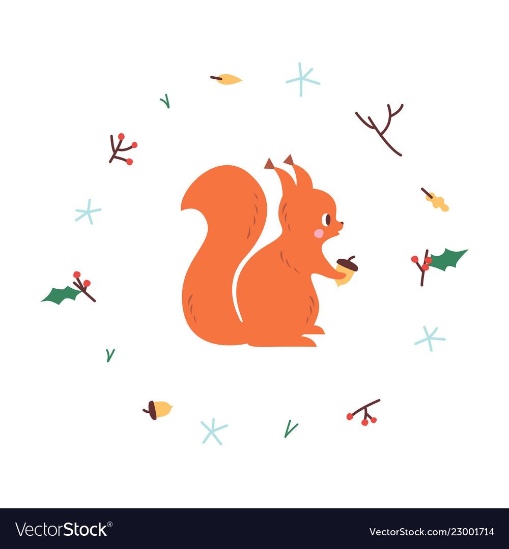 Cute squirrel minimalistic