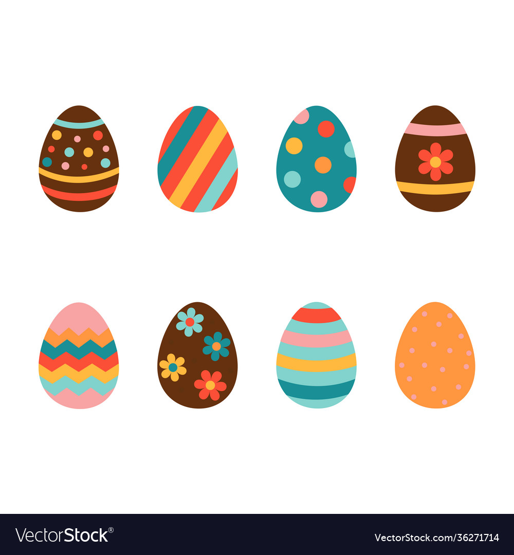 Easter eggs icons set on a white background