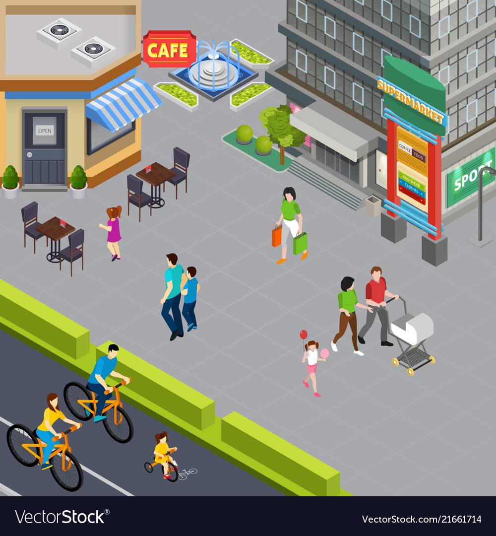 Family outdoor isometric composition